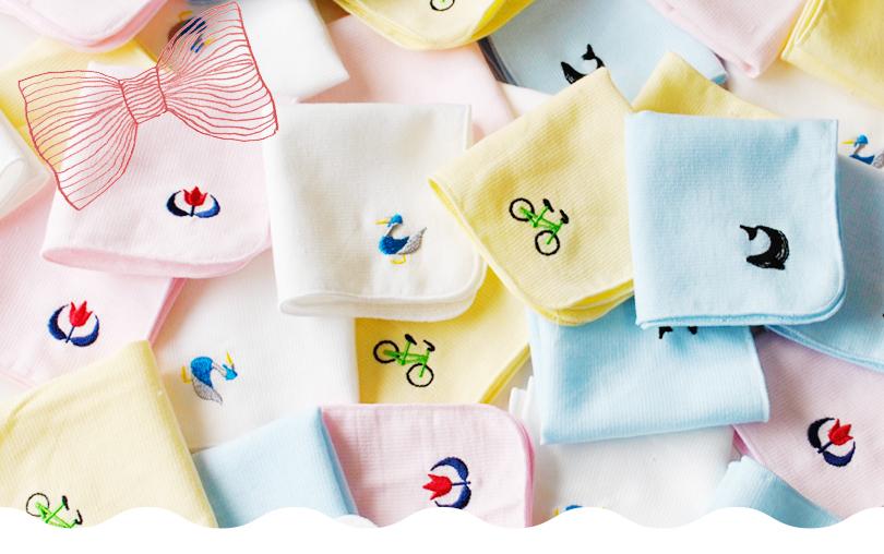 日本製 泉州タオル ミニハンカチ ガーゼハンカチ 刺繍